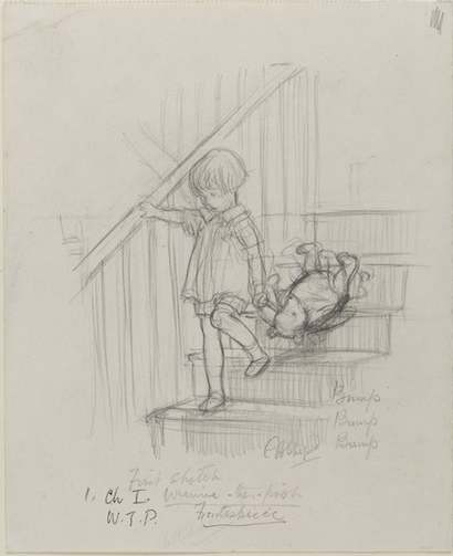 Bump-bump-bump-Winnie-the-Pooh-chapter-1-pencil-drawing-by-E.-H.-Shepard-1926-c-The-Shepard-Trust